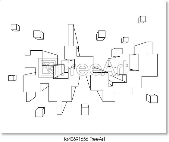 Free Art Print Of Rectangular Shape In One Point Perspective