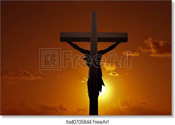 Free Art Print Of Christian Cross With Jesus Christ Over Sunset