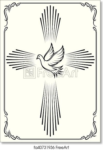 Free Art Print Of Symbolic Cross And Dove Template Emblem For