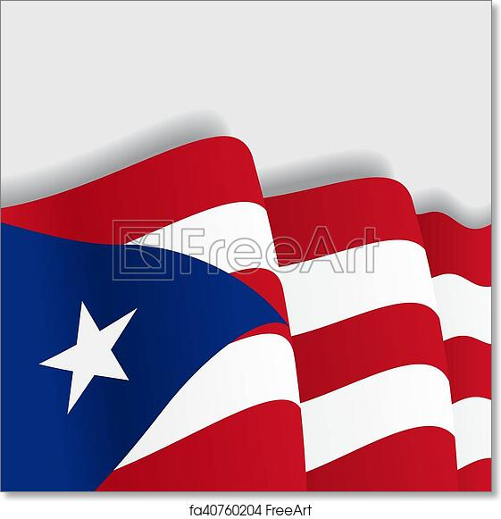 image about Printable Puerto Rican Flag named Cost-free artwork print of Puerto Rican waving Flag. Vector case in point.