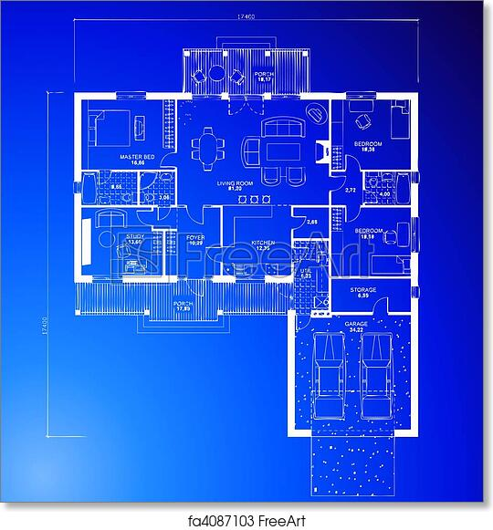 Bon Free Art Print Of Architectural Blueprint Background. Vector