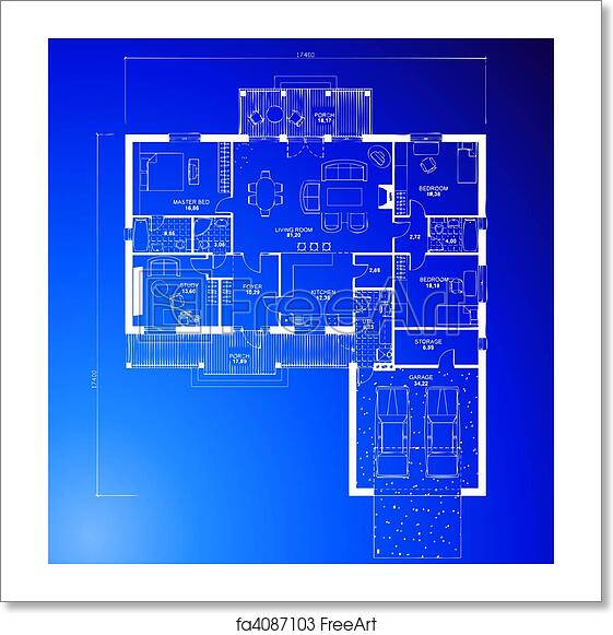 Free Art Print Of Architectural Blueprint Background Vector
