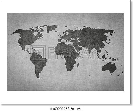 Free art print of textured vintage world map on grey background free art print of textured vintage world map on grey background gumiabroncs Image collections