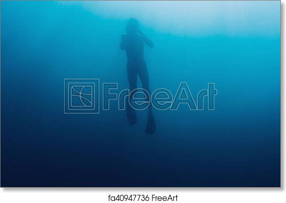 free art print of underwater silhouette of freediver silhouette of