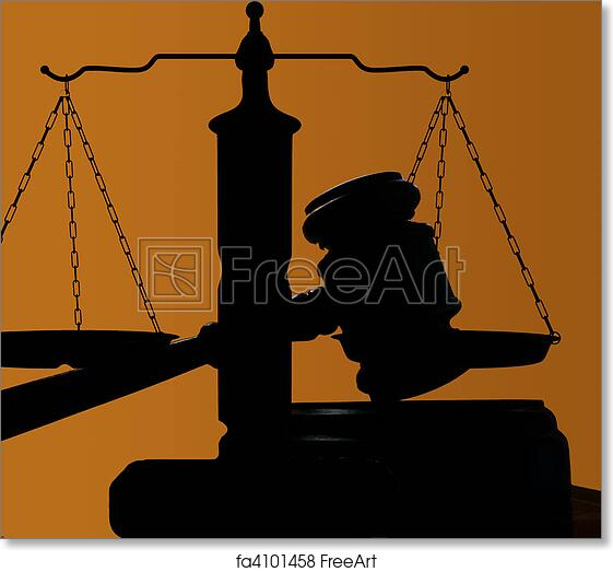 free art print of judges court gavel silhouette on blue background