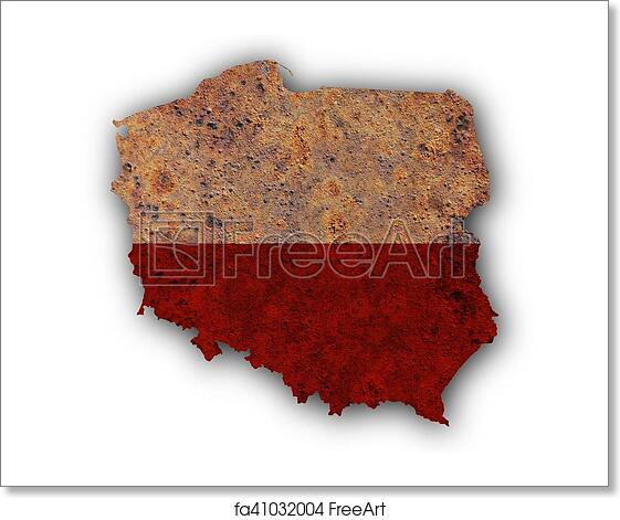 Free art print of Map and flag of Poland. Map and flag of Poland on ...