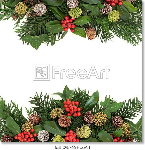 Christmas Greenery.Free Art Print Of Winter Greenery And Holly Border