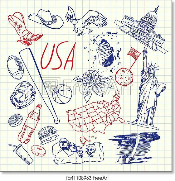 Free Art Print Of Usa Symbols Pen Drawn Doodles Vector Collection