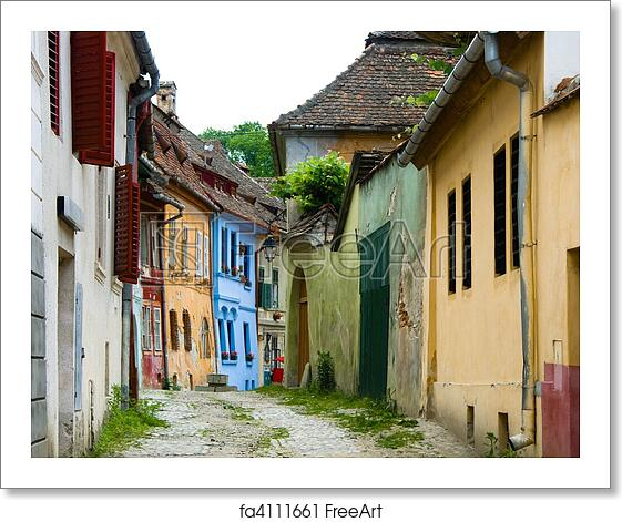 Free art print of sighisoara medieval street transylvania in romania medieval street view with - Saxon style houses in transylvania ...