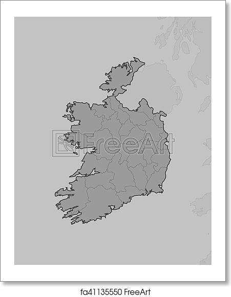 Map Of Ireland Black And White.Free Art Print Of Map Ireland Map Of Ireland And Nearby Countries