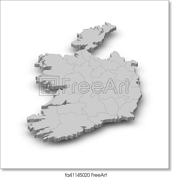 Print Map Of Ireland.Free Art Print Of Map Ireland 3d Illustration