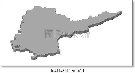 Free art print of Map - Andhra Pradesh (India) - 3D-Illustration ...
