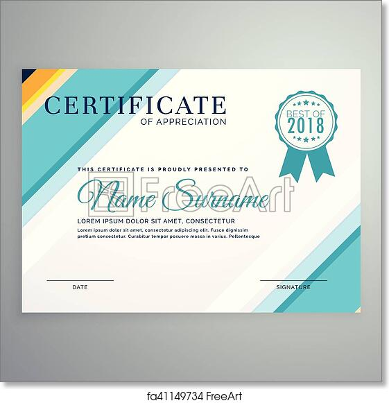 Free Art Print Of Modern Certificate Template With Blue Lines