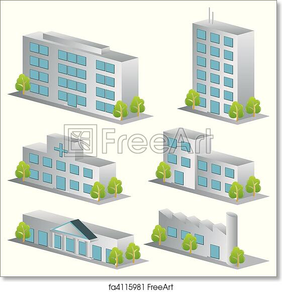 Free art print of 3d building icons set