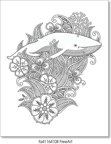Free Art Print Of Coloring Page With Whale In Flowers And Leafs Isolated On White Background