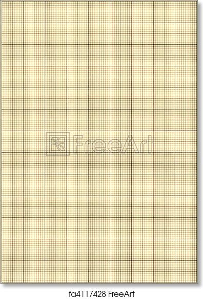 free art print of old sepia graph paper square grid background