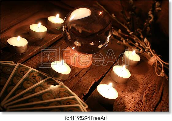 Free art print of Candle divination tarot cards