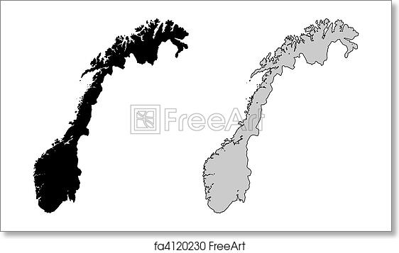 Free Art Print Of Norway Map Norway Map Black And White - Norway map free
