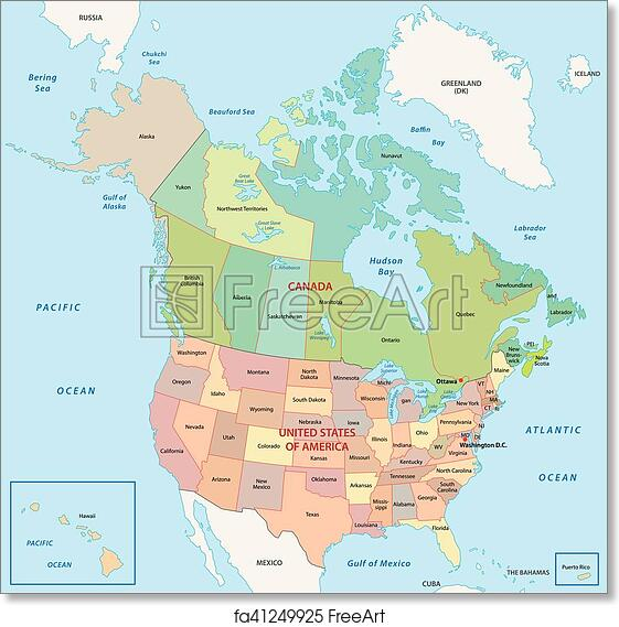 Free North America Map.Free Art Print Of North America Map North America Administrative