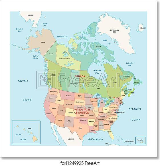 Free North America Map.Free Art Print Of North America Map North America Administrative