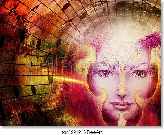 Free art print of Beautiful face of mystical being with music notes, symbol  of the muse of music with phoenix birds sign on head in space