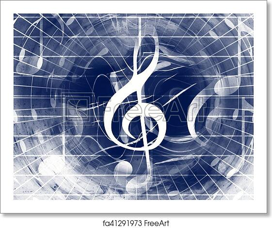 Free art print of Music notes and clef in space with stars  abstract color  background  Music concept
