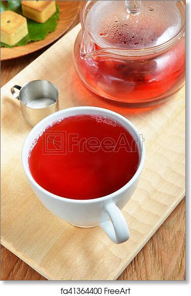Free Art Print Of Hibiscus Flower Tea Cup Of Hibiscus Tea And