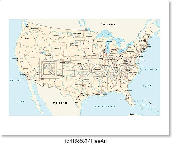 Free art print of Us interstate highway map