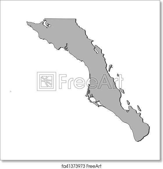 Free Art Print Of Map Baja California Sur Mexico Map Of Baja