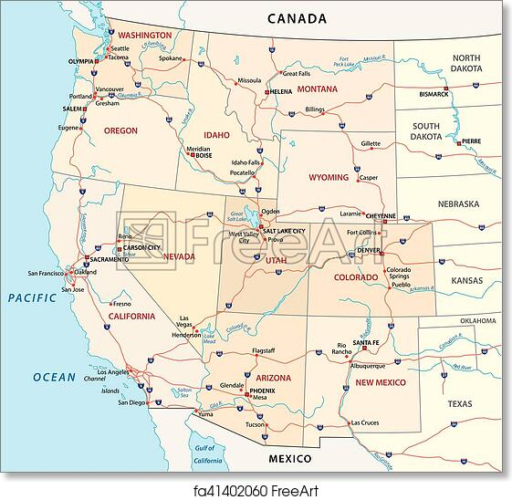 Free art print of Western united states map