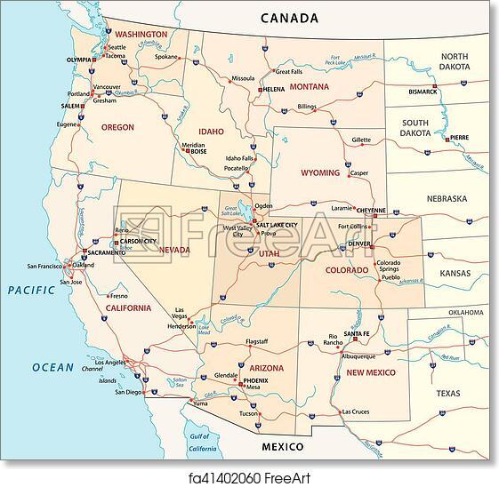 United States Map Free Printable.Free Art Print Of Western United States Map Western United States