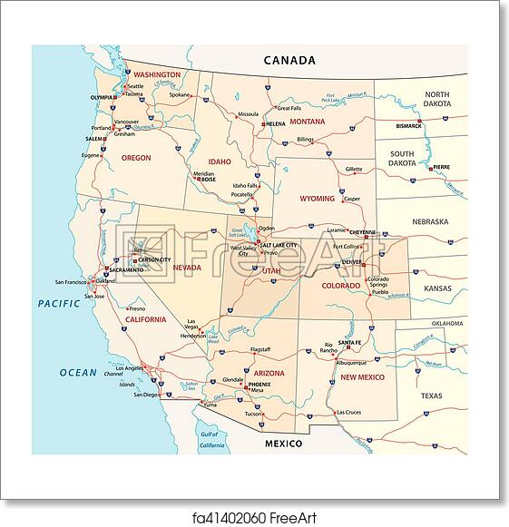 Free art print of Western united states map