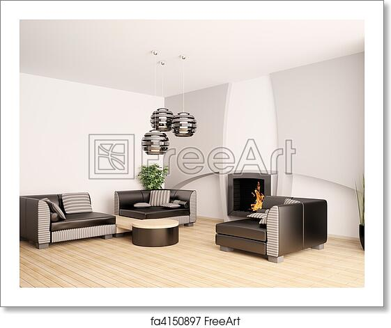 Free art print of Modern living room with fireplace interior 3d