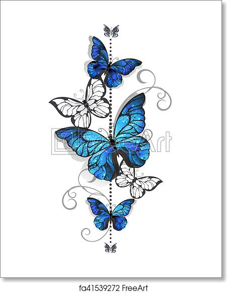 Free Art Print Of Blue Morpho And White Butterflies Composition Of