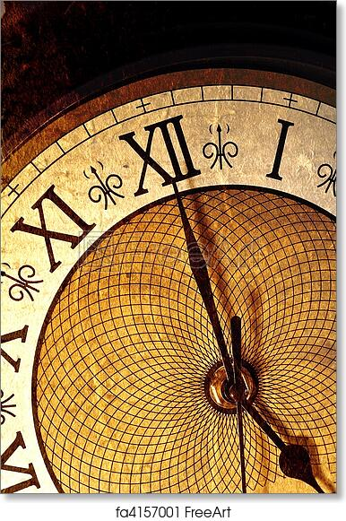 free art print of antique clock very old looking clock face