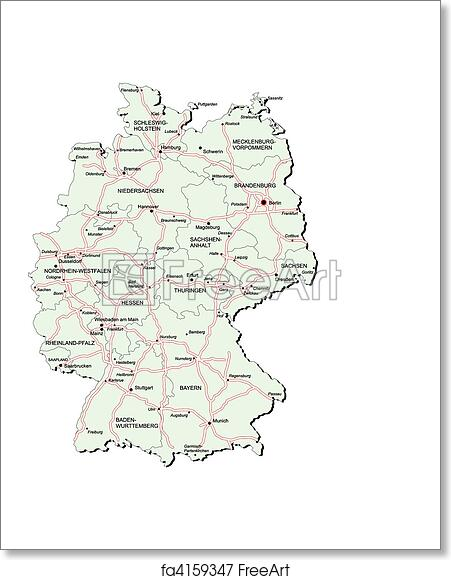 Free art print of Germany autobahn map. Vectorial map of Germany ...