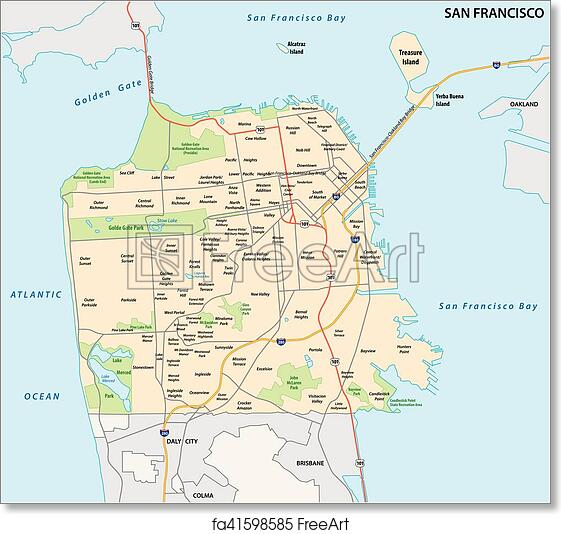 photograph relating to Printable Map of San Francisco identified as Absolutely free artwork print of San Francisco highway and local map