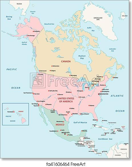 Free North America Map.Free Art Print Of North America Map North America Vector Map