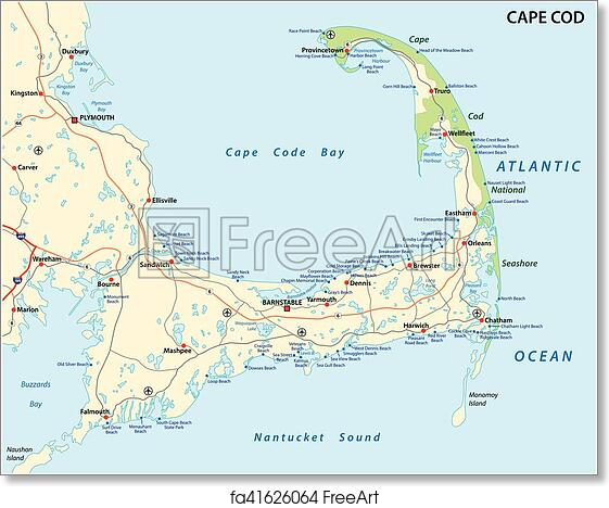 photograph relating to Printable Map of Cape Cod identified as Free of charge artwork print of Cape cod seaside map
