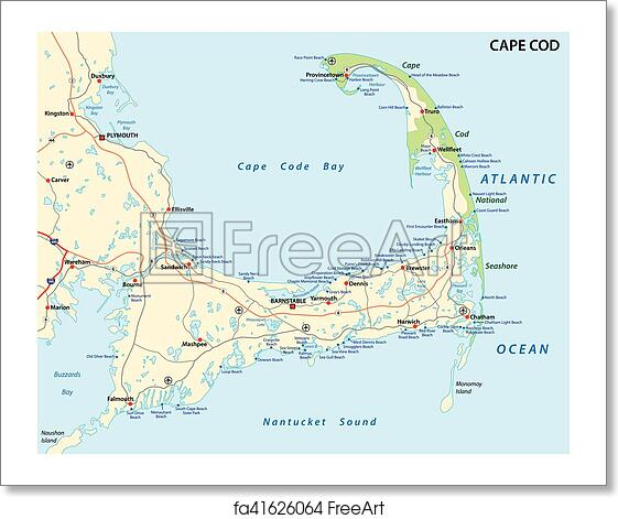 Free art print of Cape cod beach map Cape cod road and beach map