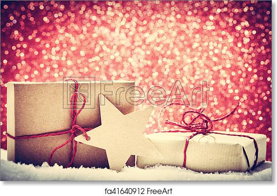 Free art print of Retro rustic Christmas gifts, presents in snow on ...