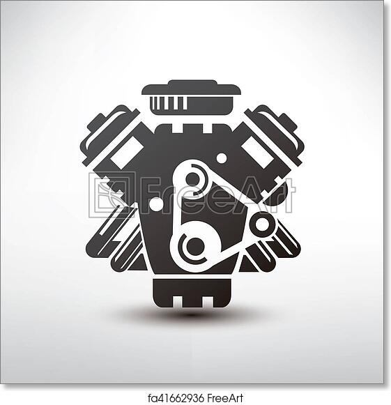 Free Art Print Of Car Engine Symbol Stylized Vector Silhouette Of