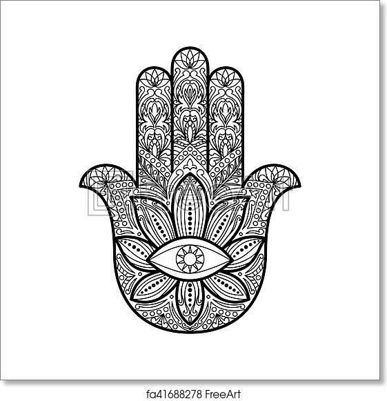 Free Art Print Of Hamsa Hand Of Fatima Amulet Ornate Hand Drawn