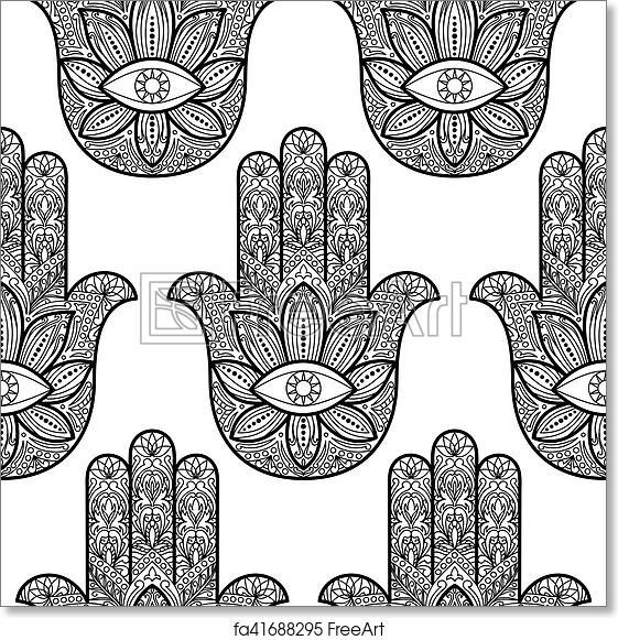 Free Art Print Of Hamsa Hand Fatima Seamless Pattern