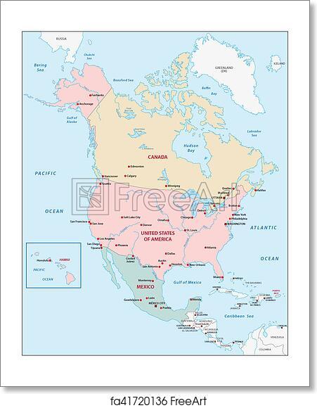 Free North America Map.Free Art Print Of North America Map Freeart Fa41720136