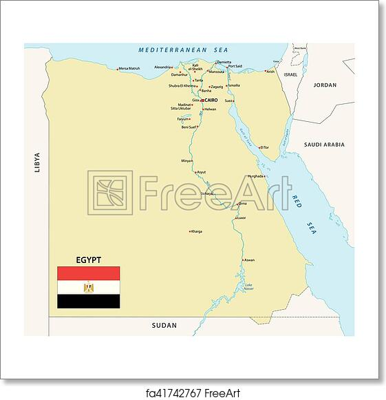 Jordan Egypt Map.Free Art Print Of Egypt Map With Flag Egypt Vector Map With Flag
