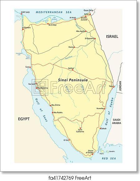 Free art print of Sinai peninsula map
