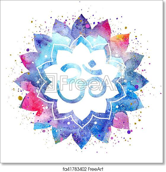 Free Art Print Of Om Sign In Lotus Flower Om Sign In Lotus Flower