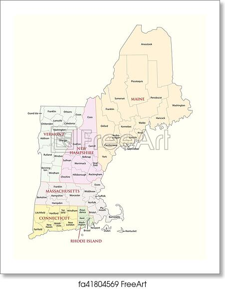 Free art print of New england states administrative map. New england ...