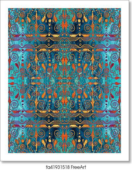 Free Art Print Of Ethnic Seamless Pattern Boho Turquoise